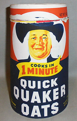 -Rare- 1960's -Quaker Quick Oats- Mad Men Screen Used TV Prop Vintage Canister