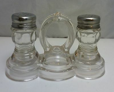 ANTIQUE CLEAR GLASS SALT & PEPPER SHAKERS WITH HANDLED GLASS HOLDER, c.1900's