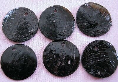 Bulk Lot x 50 Painted 2cm Round Black Shell Boho Beads New Wholesale