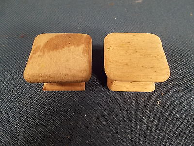 Vintage pair of Mission style Wood SQUARE Drawer KNOBS 1.25in Wide