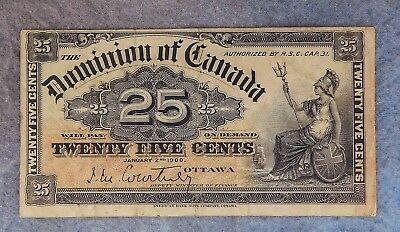 1900 25 Cents  Dominion Of Canada Currency Vf Condition
