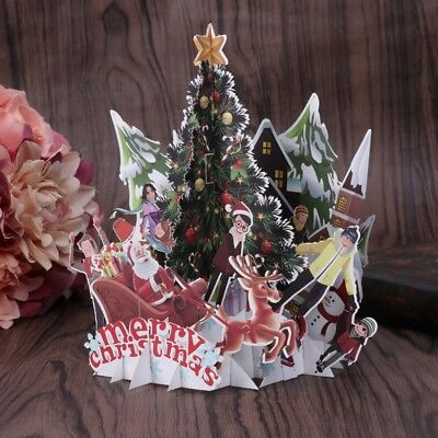 Handmade 3D Pop Up Greeting Holiday Cards Merry Christmas Party Anniversary Gift