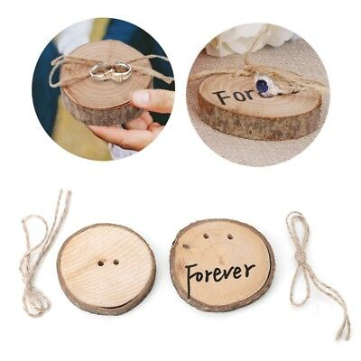 Wood Wedding Ring Bearer Pillow Rustic Wedding Holder Cushion Forever With Rope