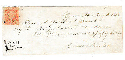 1869 Plymouth National Bank,  Hand Written Check   W/ Revenue