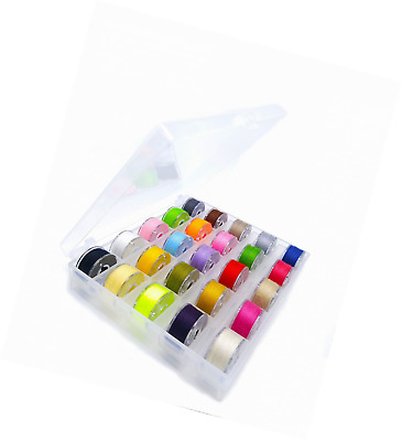 25 Pcs Transparent Plastic Ssewing Machine Bobbins and Sewing Thread with Case