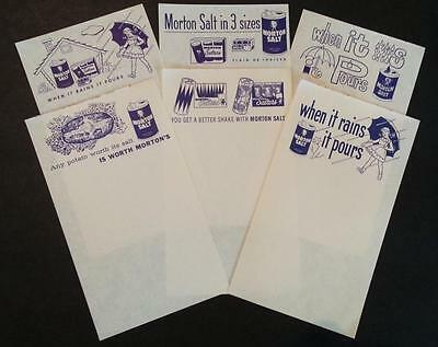 6 Different Original Vintage 1950's Morton Salt Advertising Scratch Pad Sheets