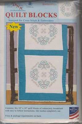 "1 Pk Dempsey ""Butterflies"" Stamped Xstitch/Embroidery Quilt Blocks"