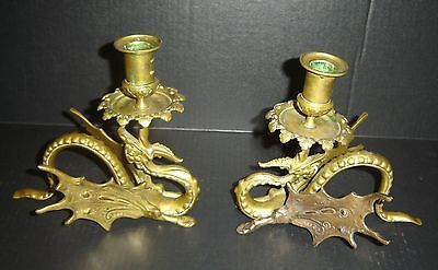 Antique French Gothic Pair of Bronze Dore Candle Holders Gargoyles Dragon Rare