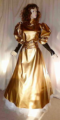 Lackkleid lang, gold, Abendkleid aus Lack,Vinyldress, Vinylgown long