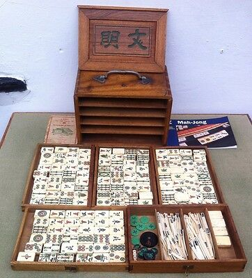 Old Mahjong Set In Camphor Wood Chest With Original Instructions