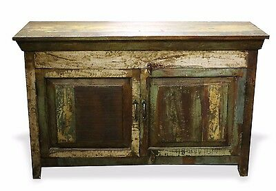 Reclaimed Indian Chest Bedside TV Stand Rustic Wood W/ Iron