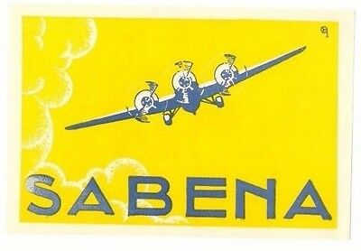 Sabena Belgium Airlines Great Old Circa 1930 Aviation Luggage Label