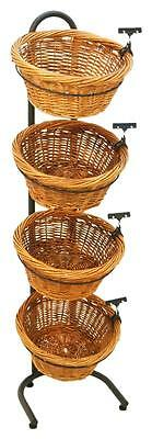 4 Tier Basket Stand, Sign Clips, Wicker - Black