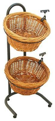 Floor Wicker Basket Stand - Sign Clips  2 Tier (Black)