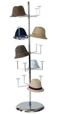 """For Sale Revolving Hat Spinner Displays 20 Hats w/18"""" Round Base (Chrome Finish)"""