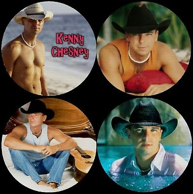 Kenny Chesney Color Photo Drink Coasters Polyester Top Rubber Bottom Set of 4