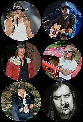 Kid Rock Photo Round Drink Coasters Polyester Top Rubber Bottom Set of 6