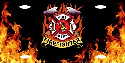 "Firefighter Fire Fighter & Rescue Logo License Plate 12""x6"" ALUMINUM MADE IN USA"
