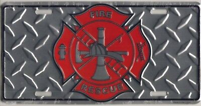 Firefighter Fire Fighter & Rescue Logo License Plate 12x6 Diamond Textured Metal