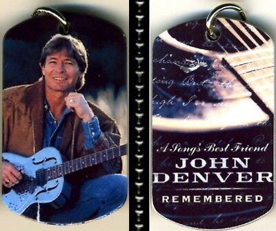 """John Denver A Song's Best Friend Photo Aluminum Dog Tag Necklace w/30""""chain NEW"""