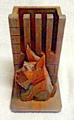 Scotty Scottie Dog Against A Fence  Carved Brush Or Pencil Holder