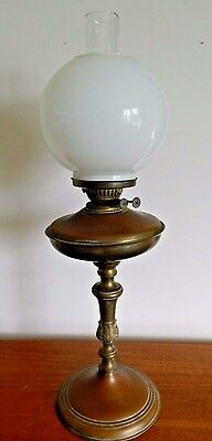 Antique VICTORIAN Brass Column Duplex OIL LAMP, with White Milk Glass Shade