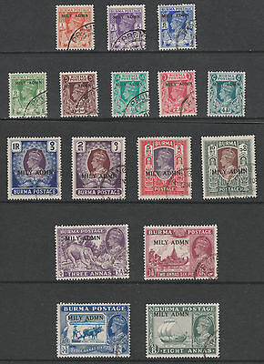 Burma 5364 - 1945 set of 16 overprinted MILY ADMIN fine cds used