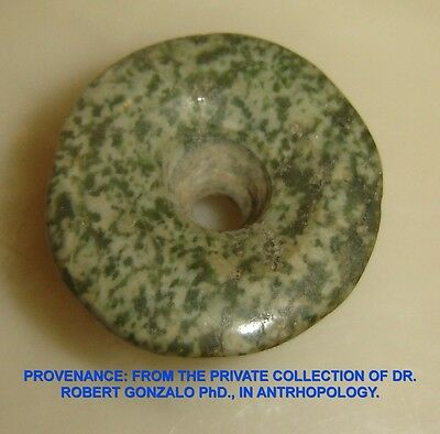 Pre-columbian Mexico Ancient Aztec Green Jade Ear Plug 13-14th Cent. AD Rare