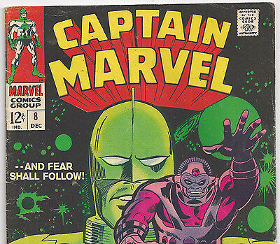 Marvel Comics' Captain Marvel #8 Kree vs Aakon from Dec 1968 in Fine- Condition