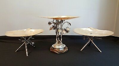 Rare Shell & Silver Bamboo Banquet Tazzas with by Wang Hing China Export Silver