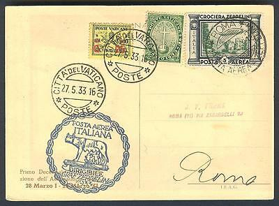 Zeppelin LZ 127 Italy flight 1933 - Post from the Vatican - with Zeppelin stamp