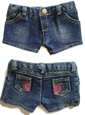 """Trendy Heart Pocket Denim Shorts for 18"""" American Girl Doll Clothes Accessories"""
