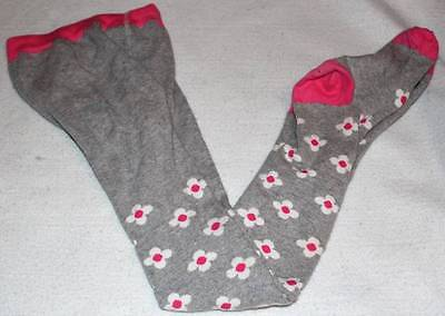 Mini Boden Girl's Gray Pink Flower Patterned Tights 9 10 Yrs