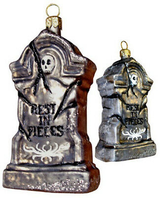 Slavic Treasures Halloween REST IN PIECES TOMB Polish Glass Ornament