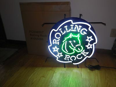 (L@@k) Rolling Rock Beer Horse Neon Light Up Sign Bar Man Cave Game Room New Mib