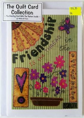 Friendship Is The Thread Patchwork Gift Card With Embroidery/stitchery Design