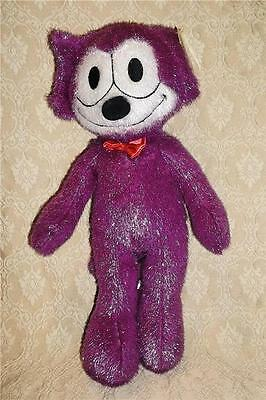 RARE VINTAGE FELIX THE CAT STUFFED ANIMAL VIOLET GLITTER PLUSH TOY FACTORY w TAG