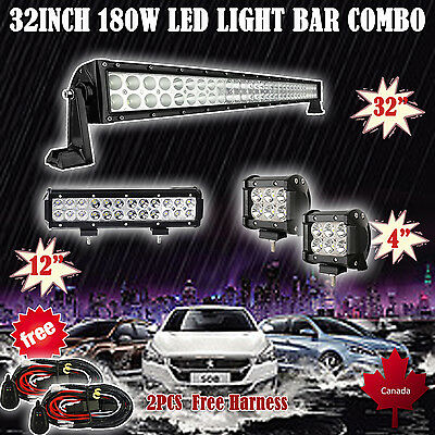 "32Inch Curved LED Light Bar + 12in + 4"" CREE PODS OFFROAD SUV 4WD FORD JEEP 30"""