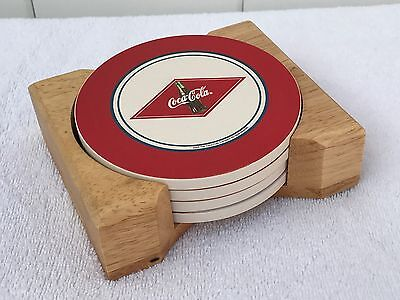 Coca-Cola Coke Ceramic Drink Coaster Round Retro Set of 4 With Wooden Holder