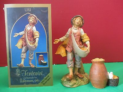 "Fontanini ""Uri"" Seed Boy 5"" Special Event Figure with Gift Accessory #65101 NIB"
