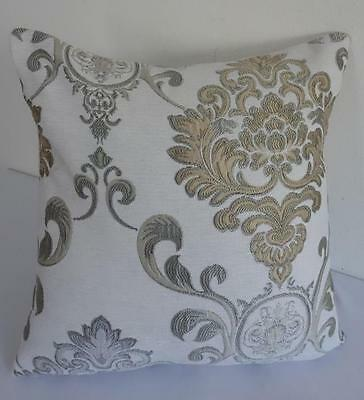 Silver Grey Champagne Gold Jacquard Damask Acanthus Scroll Cushion Cover 45cm