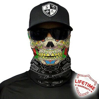 MOTORCYCLE FACE MASK - SUGAR SKULL - (Moto, Hunting, Fishing, Paintball)