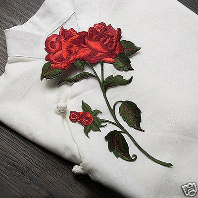 Red Rose Flower Patch Embroidered Iron On Applique Patches for Cloth Jean Decor