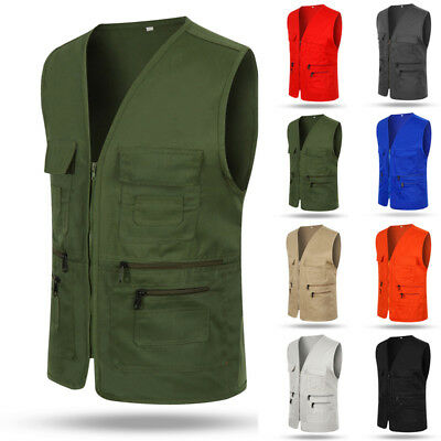 Hot Men Multi Pocket Travelers Fishing Photography Director Outdoor Vest L-3XL