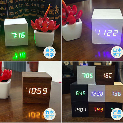 Hot!USB Sound Control Wood Cube Digital LED Alarm Clock Thermometer Timer 6*6cm