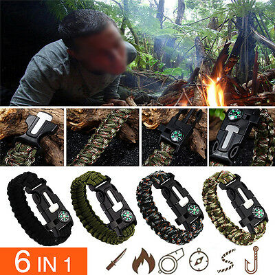 6 In 1 Outdoor Survival Bracelet Fishing Line Hooks Compass Survival Bracelet
