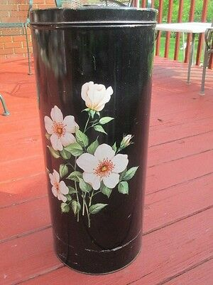 Vintage Deco Ware Canister Laundry Hamper White Rose on black Shabby Metal Chic