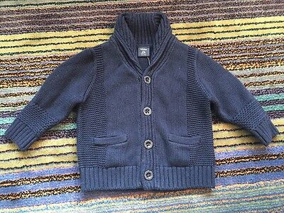 Baby Gap Boys Button-Down Blue Knit Cardigan Sweater 6–12 Months New