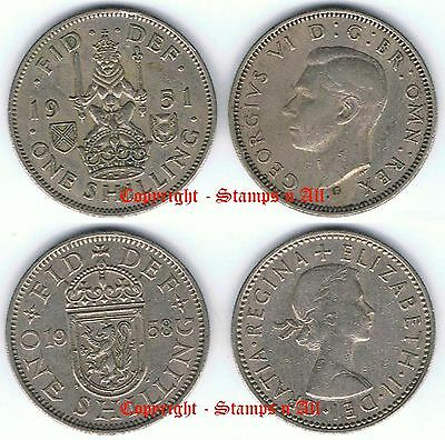 1/- 1 Scottish Shilling 1947 to 1966 Choose - DISCOUNTS UP TO 80% AVAILABLE