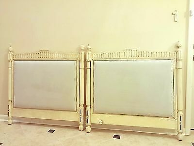 Antique 19thc. French White painted Twin Headboards made from Empire Daybed